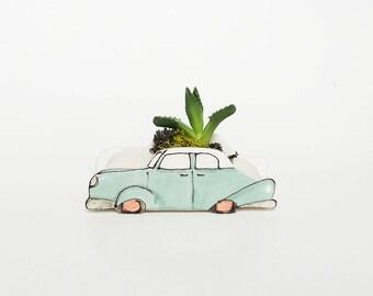 Small turquoise 1950 car planter. Perfect cactus or succulent planter. Unique planter! Mini planter