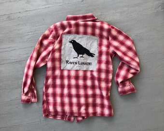 Upcycled Plaid Flannel Bird Watcher Shirt // Raven Lunatic Zip Up Medium Small