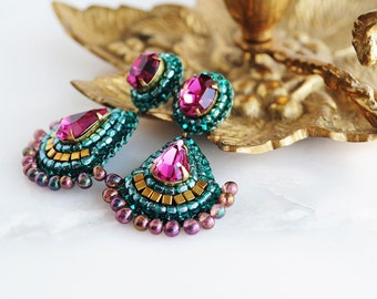Teal fuchsia earring etsy bridal chandelier earrings emerald bridal earrings fuchsia teal bridal earrings gold chandelier earrings mozeypictures Image collections