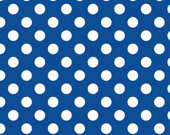 Riley Blake royal blue flannel Medium dot fabric from Holiday School dots design line