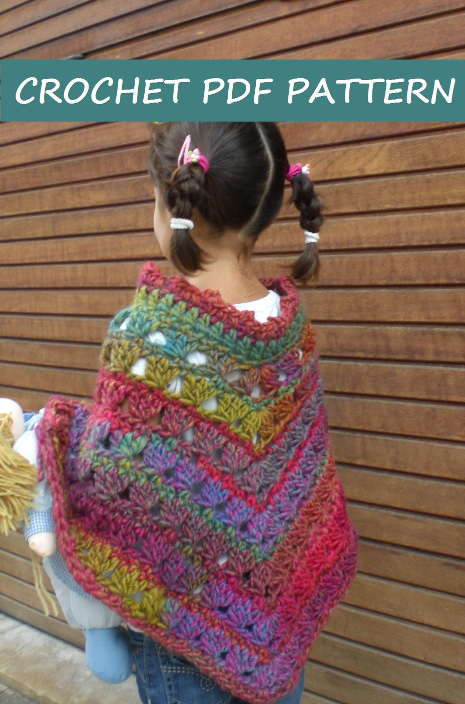 Crochet Poncho Pattern. PDF 019. from vivartshop on Etsy Studio