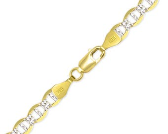 """14K Solid Yellow Gold White Pave Mariner Bracelet 7.7mm 8.5"""" - Diamond Cut Anchor Chain Link"""
