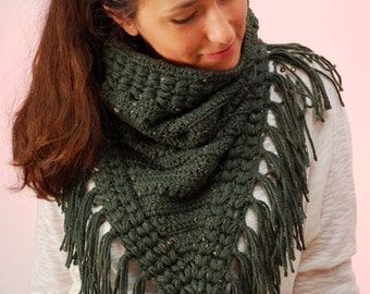 Fringe cowl, Dark Green scarf, Crochet Chunky Hippie Neck, SexyCrochet design, Military winter accessories