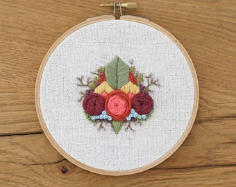 Flower and Nature Embroidery Hoop Art, Hand Stitched Hoop Art, Wall Decor