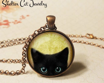 "Inquisitive Black Cat Peeks Up Necklace - 1-1/4"" Circle Pendant or Key Ring - Wearable Art Photo - Curious Cat Gothic Halloween Cat Lover"