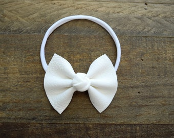 White Leather Knot Center OSFA White Headband for Newborn Baby Child Little Girl Adult Adorable Photo Prop Summer Headband Gold White Bow