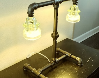 Glass insulator table lamp/light