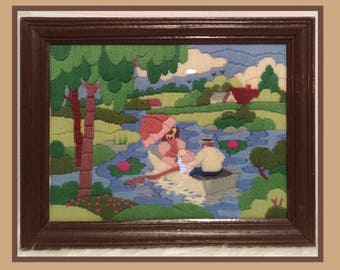 "Vintage Yarn Art Framed 15""X9"" Kitschy"