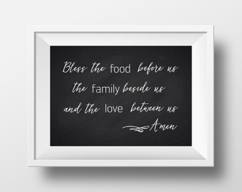 Bless The Food Dining Room Chalk Print Kitchen Blessing Wall Art