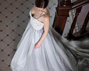 Grey wedding dress, gray wedding dress, alternative wedding dress, ivory and gray wedding dress, custom color wedding dress - Anemone