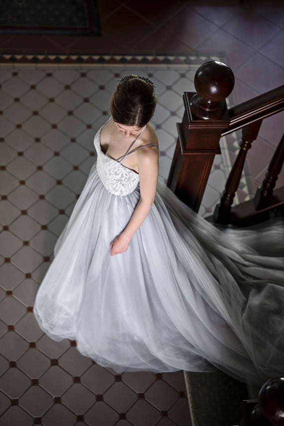 Grey wedding dress gray wedding dress alternative wedding like this item junglespirit Choice Image
