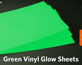 """Glow in the Dark Self-Adhesive Vinyl - 10"""" x 8"""" and 12"""" x 8"""" sheets - Quality by Orafol/Oracal - Luminescent Vinyl - Glow Vinyl"""
