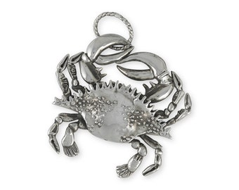 Sterling Silver Large Crab Pendant Jewelry