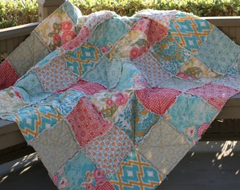 Twin Size Comforter - Rag Quilt - Full Size Comforter - Dorm Bedding - College Bedding - Twin Bed Blanket - Coral Twin Bedding - Aqua Twin