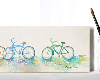 The Bike Path - Gallery Wrapped Lacquered Watercolor