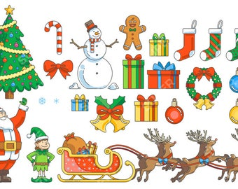 Christmas Clip Art, Vector Graphics, Digital Images, Illustration, Icon, Instant Download – Tree, Holiday, Presents, Santa, Elf, Sleigh