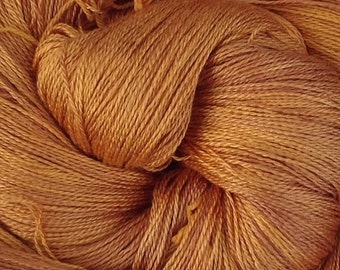 Silk Laceweight Yarn, Knitting Yarn, Pure Silk Thread, No.07 Yellow, Ochre