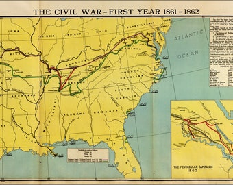 Poster, Many Sizes Available; Map Of Civil War First Year