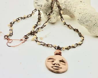 Man in the Moon Necklace, Astronomy Art, Face Necklace, Astronomy Art, Ceramic Moon Jewelry, Face Jewelry, Casual Necklace, Gift for