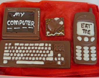Hand-made Belgian chocolate computer and phone
