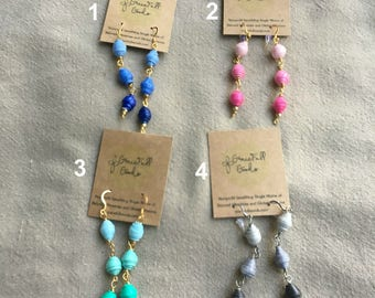 Handcrafted Paper Bead Bobble Earrings