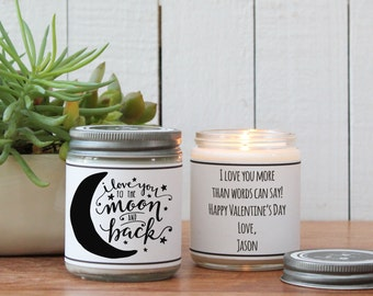 I Love You to the Moon and Back Candle Greeting - I Love You Gift / Thinking of you Gift / Boyfriend Gift /Valentine's Day Gift/Husband Gift
