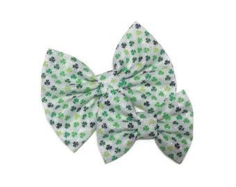 Glitter St. Patrick's Day Bow | Fabric Bow | Handmade Hair Bow | Hair Clip | Headband