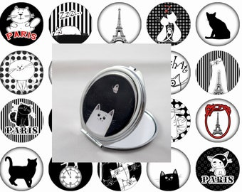 Double Pocket mirror, custom 62mm pattern Cats in Paris in your choice