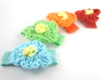Flower Hair Clips - 4 Pack - baby hair clips - small hair clips - crochet flower hair clips - infant hair clips - hair clips for girls - me