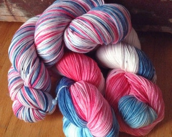 Trillian - 13% off - NEW hand dyed superwash Merino super soft wool blend sock yarn 462 yards 100 grams