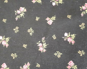 Floral 100% black cotton fabric