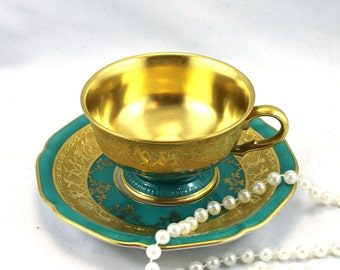 Reserved for MA.Gorgeous,22 K Gold Plated  DW Karlsbader Chocolate/Espresso Duo, Deep Green Gilded Design, Bone German China made in 1940s