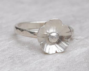 Sterling silver flower ring, silver floral ring