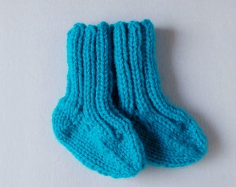 Hand Knit Baby Socks, Baby Shower Gift, Infant Clothing Newborn Child Size 0 to 3 Months, Handmade Gift, Warm Winter Clothes, Aqua Blue Teal