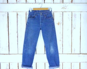 Vintage 701 button fly  blue denim mid rise jeans/straight leg blue jeans/faded Levi Strauss jeans
