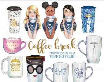 Starbucks coffee clipart fashion graphics planner girl print African American clipart quotes planner clipart planner graphics Printablehenry