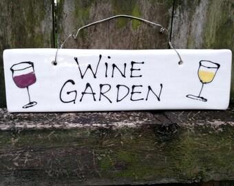 Wine Garden ceramic hanging garden plaque
