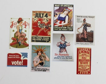 NEW Miniature Patriotic Americana 1:12 Scale Set of Vintage Posters for Dollhouse