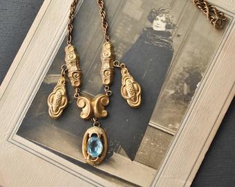 1930s Brass Blue Glass Necklace