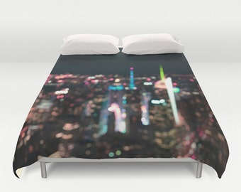 Duvet Cover Made to Order, New York, Manhattan Time Square, Decorative bedding, unique design, modern, bedroom, blanket, city, bokeh, dorm