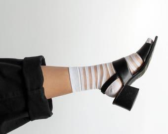90s Sheer Striped Socks / Mesh Glitter Ankle Sock / Various Colors