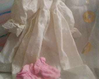"18"" doll White Nightgown with long sleeves and pink slippers."