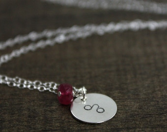 Necklace - Sterling Silver - Personalized Zodiac - July Leo - Ruby Necklace - Hand Stamped - Zodiac Necklace - Birthday Gift - July Birthday