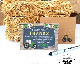 Tractor Thank You Cards PRINTED with matching recycled kraft Envelopes / A tractor load of THANKS personalized Card