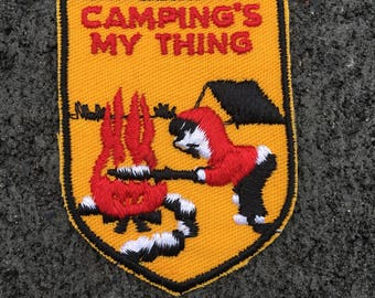 Camping's My Thing Vintage Travel Souvenir Patch from Voyager