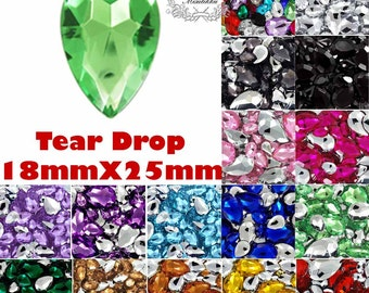 8 -50 PCS 18mm X 25mm Mix Tear Drop Rhinestone Pointed Back Acrylic Drop Shape Gems Crystal Tip End Assorted Color Kits Pink Red Purple DD18