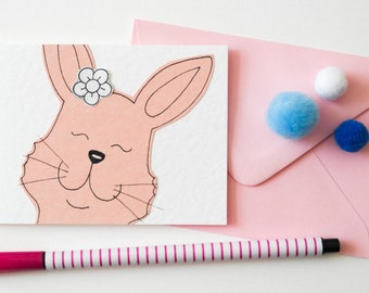 Cute Bunny Notecards, Easter Bunnies Thank you cards, Rabbit Lover Gifts, Cute Rabbit Party Invitations, Lunch Notes Bunny cards