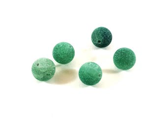 Set of 4 agate beads green Crackle (Ref.79)