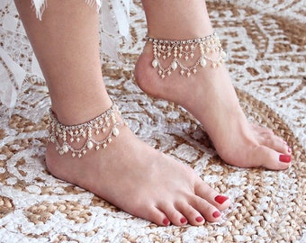Avery Bridal Anklets Beach Wedding Anklets Pearl Anklets