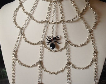 Handmade, SPIDERWEB NECKLACE with glass beads
